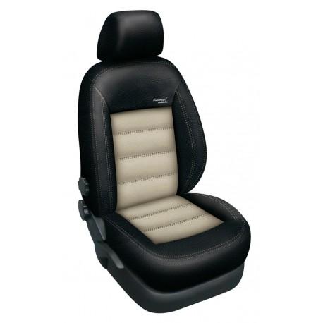Autopotahy na Škoda Superb III., výbava Ambition, kožené Authentic Leather, Barva Leather černá/béžová 2335