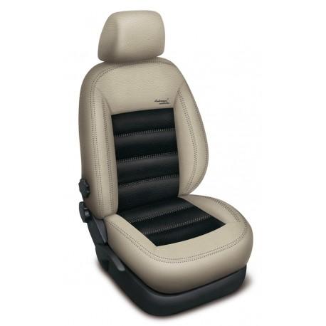 Autopotahy na Škoda Superb III., výbava Ambition, kožené Authentic Leather III., barva Leather béžová béžová/černá 2337
