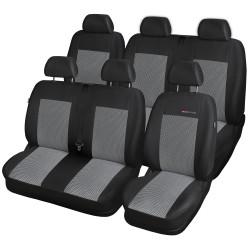 Autopotahy na Volkswagen Transporter T4, 6 míst - 1+2, 2+1, od r. 1990 - 2003, Lux style barva šedo černá