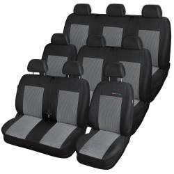 Autopotahy na Volkswagen Transporter T4, 9 míst - 1+2, 2+1, 3, od r. 1990 - 2003, Lux style barva šedo černá