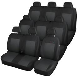 Autopotahy na Volkswagen Transporter T4, 9 míst - 1+2, 2+1, 3, od r. 1990 - 2003, Lux style barva černá