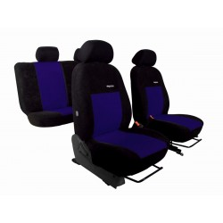 Autopotahy na Škoda Fabia I., dělená zadní sed., 4 opěrky hlavy, Elegance alcantara, černo modré