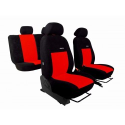 Autopotahy Elegance alcantara na Škoda Fabia II., nedělená zadní sedadla, černo červené